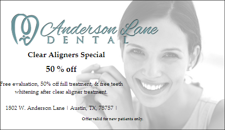 50% off clear aligners special; includes free evaluation, 50% off treatment and free teeth whitening after treatment